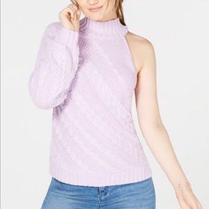 INC ASYMMETRIC CABLE ONE SHOULDER SWEATER
